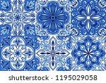 portuguese azulejo ceramic tile ... | Shutterstock .eps vector #1195029058