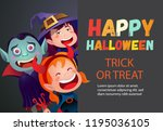 happy halloween trick or treat... | Shutterstock .eps vector #1195036105