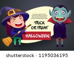 halloween trick or treat black... | Shutterstock .eps vector #1195036195