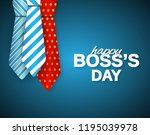happy boss day poster on blue... | Shutterstock .eps vector #1195039978