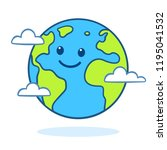 planet earth drawing with cute... | Shutterstock .eps vector #1195041532