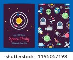 vector flat space icons party... | Shutterstock .eps vector #1195057198