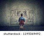 fake news concept. man watching ... | Shutterstock . vector #1195069492