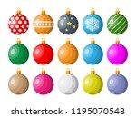 set of christmas balls on white ... | Shutterstock .eps vector #1195070548