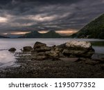 overcast weather at lake ireon... | Shutterstock . vector #1195077352