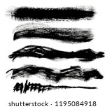 brush strokes set of black... | Shutterstock . vector #1195084918