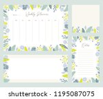 cute vector weekly planner... | Shutterstock .eps vector #1195087075