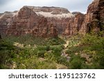 overcast day of zion national... | Shutterstock . vector #1195123762