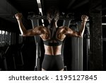 muscular woman in fitness hall... | Shutterstock . vector #1195127845