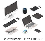 modern isometric set. thin... | Shutterstock .eps vector #1195148182