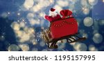 santa claus riding on sled with ... | Shutterstock . vector #1195157995