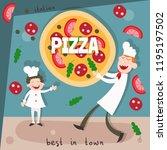 chefs in restaurant kitchen... | Shutterstock .eps vector #1195197502
