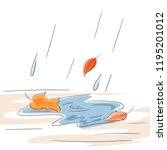 automn rain and falling leaves | Shutterstock .eps vector #1195201012