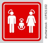 Minimalistic holy family illustration mimicking an informational sign
