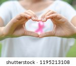woman hand holding pink breast...   Shutterstock . vector #1195213108