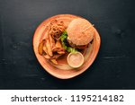 burger with meat  onion ...