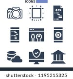 set of 9 digital filled icons... | Shutterstock . vector #1195215325