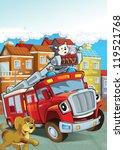 the red firetruck   duty  ... | Shutterstock . vector #119521768
