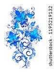brilliant textural blue curls ... | Shutterstock . vector #1195219132