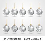 set of realistic silver... | Shutterstock .eps vector #1195220635