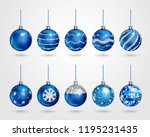 set of realistic blue christmas ... | Shutterstock .eps vector #1195231435