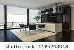 modern dining room and kitchen... | Shutterstock . vector #1195243018