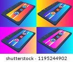 compact cassette seamless...   Shutterstock .eps vector #1195244902