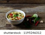 thai green curry with fish... | Shutterstock . vector #1195246312