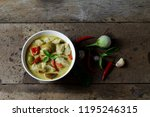 thai green curry with fish... | Shutterstock . vector #1195246315