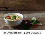 thai green curry with fish... | Shutterstock . vector #1195246318