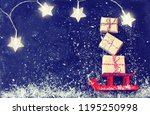 christmas red sleigh carrying...   Shutterstock . vector #1195250998
