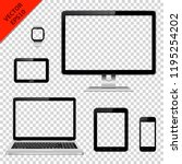 various modern electronic... | Shutterstock .eps vector #1195254202