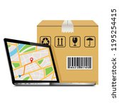 shipping parcel gps tracking... | Shutterstock .eps vector #1195254415