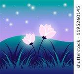 magic glowing flowers in vector | Shutterstock .eps vector #1195260145