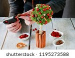 florist at work  how to make... | Shutterstock . vector #1195273588