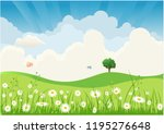 green landscape with trees... | Shutterstock .eps vector #1195276648