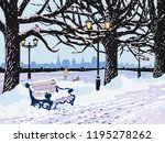 vector winter landscape with... | Shutterstock .eps vector #1195278262