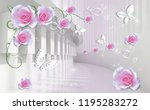 3d background with pink roses...   Shutterstock . vector #1195283272