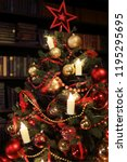 christmas tree with decorations ... | Shutterstock . vector #1195295695