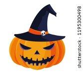 happy halloween pumpkin with... | Shutterstock .eps vector #1195300498