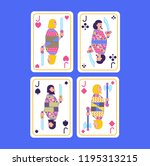 playing cards set of jacks in... | Shutterstock .eps vector #1195313215