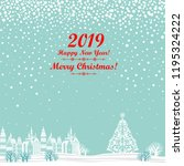 2019 happy new year greeting... | Shutterstock . vector #1195324222