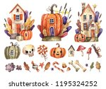 Watercolor Set Of Halloween...