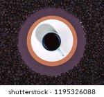 stylish morning coffee setup.... | Shutterstock . vector #1195326088