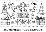 doodle christmas set. cute hand ... | Shutterstock .eps vector #1195329805