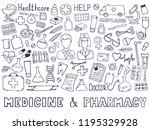 the cutest doodle medicine icon ... | Shutterstock .eps vector #1195329928