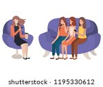 young women sitting on sofa... | Shutterstock .eps vector #1195330612