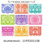 day of the dead. papel picado.... | Shutterstock .eps vector #1195331158