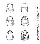 backpack bag set outline models ... | Shutterstock .eps vector #1195342918