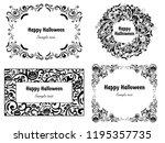 happy halloween  set frame... | Shutterstock . vector #1195357735